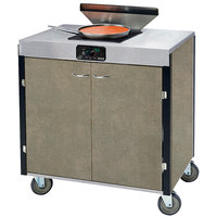 Lakeside 2065 Creation Express Mobile Cooking Cart with 1 Induction Burner, 1 Filtration Unit, and Beige Suede Laminate Finish - 22 inch x 34 inch x 40 1/2 inch