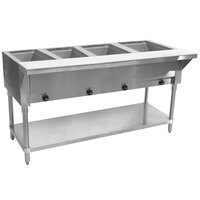 Advance Tabco SW-4E-T Four Pan Electric Hot Food Table with Thermostatic Control and Undershelf - Sealed Well