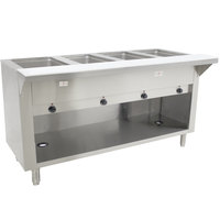 Advance Tabco SW-4E-BS-T Four Pan Electric Hot Food Table with Thermostatic Control and Enclosed Base - Sealed Well