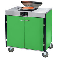 Lakeside 2065 Creation Express Mobile Cooking Cart with 1 Induction Burner, 1 Filtration Unit, and Green Laminate Finish - 22 inch x 34 inch x 40 1/2 inch