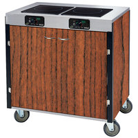 Lakeside 2070 Creation Express Mobile Cooking Cart with 2 Induction Burners, No Exhaust Filtration, and Victorian Cherry Laminate Finish - 22 inch x 34 inch x 35 1/2 inch