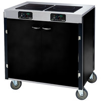 Lakeside 2075 Creation Express Mobile Cooking Cart with 2 Induction Burners, 1 Filtration Unit, and Black Laminate Finish - 22 inch x 34 inch x 40 1/2 inch