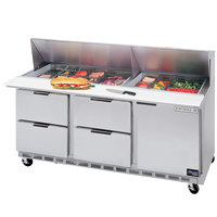 Beverage-Air SPED72-10-4 72 inch Refrigerated Salad / Sandwich Prep Table with One Door and Four Drawers