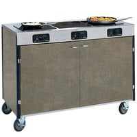 Lakeside 2080 Creation Express Mobile Cooking Cart with 3 Induction Burners, No Exhaust Filtration, and Beige Suede Laminate Finish - 22 inch x 48 inch x 35 1/2 inch