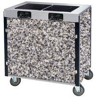 Lakeside 2075 Creation Express Mobile Cooking Cart with 2 Induction Burners, 1 Filtration Unit, and Gray Sand Laminate Finish - 22 inch x 34 inch x 40 1/2 inch