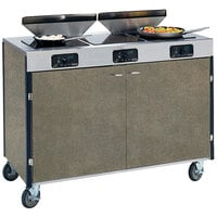 Lakeside 2085 Creation Express Mobile Cooking Cart with 3 Induction Burners, 2 Filtration Units, and Beige Suede Laminate Finish - 22 inch x 48 inch x 40 1/2 inch