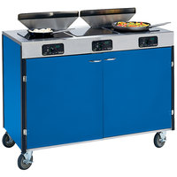 Lakeside 2085 Creation Express Mobile Cooking Cart with 3 Induction Burners, 2 Filtration Units, and Royal Blue Laminate Finish - 22 inch x 48 inch x 40 1/2 inch