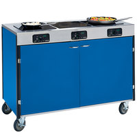 Lakeside 2080 Creation Express Mobile Cooking Cart with 3 Induction Burners, No Exhaust Filtration, and Royal Blue Laminate Finish - 22 inch x 48 inch x 35 1/2 inch