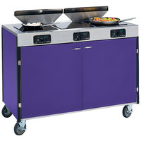 Lakeside 2085 Creation Express Mobile Cooking Cart with 3 Induction Burners, 2 Filtration Units, and Purple Laminate Finish - 22 inch x 48 inch x 40 1/2 inch