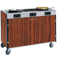 Lakeside 2080 Creation Express Mobile Cooking Cart with 3 Induction Burners, No Exhaust Filtration, and Victorian Cherry Laminate Finish - 22 inch x 48 inch x 35 1/2 inch