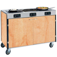 Lakeside 2080 Creation Express Mobile Cooking Cart with 3 Induction Burners, No Exhaust Filtration, and Hard Rock Maple Laminate Finish - 22 inch x 48 inch x 35 1/2 inch