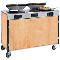 Lakeside 2085 Creation Express Mobile Cooking Cart with 3 Induction Burners, 2 Filtration Units, and Hard Rock Maple Laminate Finish - 22 inch x 48 inch x 40 1/2 inch