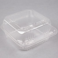 "Durable Packaging PXT-600 6"" x 6"" x 3"" Clear Hinged Lid Plastic Container - 125/Pack"