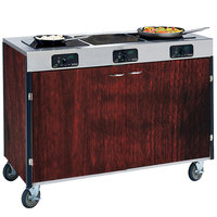Lakeside 2080 Creation Express Mobile Cooking Cart with 3 Induction Burners, No Exhaust Filtration, and Red Maple Laminate Finish - 22 inch x 48 inch x 35 1/2 inch