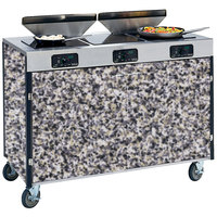 Lakeside 2085 Creation Express Mobile Cooking Cart with 3 Induction Burners, 2 Filtration Units, and Gray Sand Laminate Finish - 22 inch x 48 inch x 40 1/2 inch