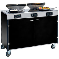 Lakeside 2085 Creation Express Mobile Cooking Cart with 3 Induction Burners, 2 Filtration Units, and Black Laminate Finish - 22 inch x 48 inch x 40 1/2 inch