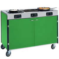 Lakeside 2080 Creation Express Mobile Cooking Cart with 3 Induction Burners, No Exhaust Filtration, and Green Laminate Finish - 22 inch x 48 inch x 35 1/2 inch