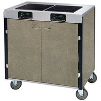 Lakeside 2070 Creation Express Mobile Cooking Cart with 2 Induction Burners, No Exhaust Filtration, and Beige Suede Laminate Finish - 22 inch x 34 inch x 35 1/2 inch