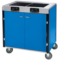 Lakeside 2075 Creation Express Mobile Cooking Cart with 2 Induction Burners, 1 Filtration Unit, and Royal Blue Laminate Finish - 22 inch x 34 inch x 40 1/2 inch
