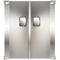 Curtron Service-Pro Series 20 Double Aluminum Swinging Traffic Door with Laminate Finish - 54 inch x 96 inch Door Opening