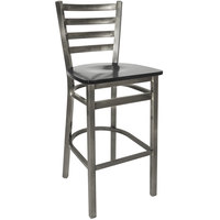 BFM Seating 2160BBLW-CL Lima Steel Bar Height Chair with Black Wooden Seat and Clear Coat Frame