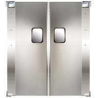 Curtron Service-Pro Series 20 Double Stainless Steel Swinging Traffic Door - 42 inch x 96 inch Door Opening