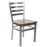 BFM Seating 2160CASH-CL Lima Steel Side Chair with Ash Wooden Seat and Clear Coat Frame