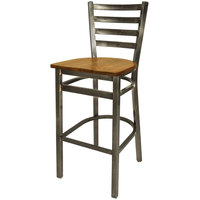 BFM Seating 2160BASH-CL Lima Steel Bar Height Chair with Ash Wooden Seat and Clear Coat Frame