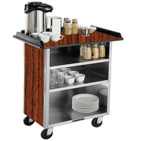 Lakeside 678 Stainless Steel Beverage Service Cart with 3 Shelves and Victorian Cherry Laminate Finish - 40 3/4 inch x 24 inch x 38 1/4 inch