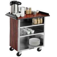 Lakeside 678 Stainless Steel Beverage Service Cart with 3 Shelves and Red Maple Laminate Finish - 40 3/4 inch x 24 inch x 38 1/4 inch
