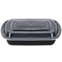 28 oz. Black 7 3/4 inch x 5 inch x 1 1/4 inch Rounded End Microwavable Container with Lid - 150 / Case