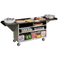 Lakeside 676 Stainless Steel Drop-Leaf Beverage Service Cart with 3 Shelves and Beige Suede Laminate Finish - 61 3/4 inch x 24 inch x 38 1/4 inch