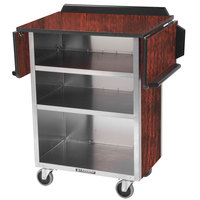 Lakeside 672 Stainless Steel Drop-Leaf Beverage Service Cart with 3 Shelves and Red Maple Laminate Finish - 33 1/8 inch x 21 inch x 38 1/4 inch