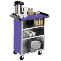 Lakeside 681 Stainless Steel Beverage Service Cart with 3 Shelves and Purple Laminate Finish - 58 3/8 inch x 24 inch x 38 1/4 inch