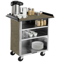 Lakeside 678 Stainless Steel Beverage Service Cart with 3 Shelves and Beige Suede Laminate Finish - 40 3/4 inch x 24 inch x 38 1/4 inch