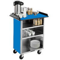 Lakeside 681 Stainless Steel Beverage Service Cart with 3 Shelves and Royal Blue Laminate Finish - 58 3/8 inch x 24 inch x 38 1/4 inch