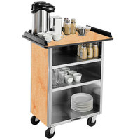 Lakeside 636 Stainless Steel Beverage Service Cart with 3 Shelves and Hard Rock Maple Laminate Finish - 30 1/4 inch x 21 inch x 38 1/4 inch