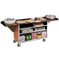 Lakeside 676 Stainless Steel Drop-Leaf Beverage Service Cart with 3 Shelves and Hard Rock Maple Laminate Finish - 61 3/4 inch x 24 inch x 38 1/4 inch