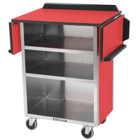 Lakeside 672 Stainless Steel Drop-Leaf Beverage Service Cart with 3 Shelves and Red Laminate Finish - 33 1/8 inch x 21 inch x 38 1/4 inch