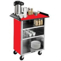 Lakeside 681 Stainless Steel Beverage Service Cart with 3 Shelves and Red Laminate Finish - 58 3/8 inch x 24 inch x 38 1/4 inch