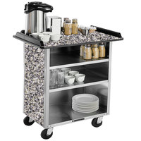 Lakeside 678 Stainless Steel Beverage Service Cart with 3 Shelves and Gray Sand Laminate Finish - 40 3/4 inch x 24 inch x 38 1/4 inch