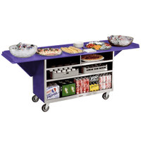 Lakeside 676 Stainless Steel Drop-Leaf Beverage Service Cart with 3 Shelves and Purple Laminate Finish - 61 3/4 inch x 24 inch x 38 1/4 inch