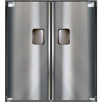 Curtron Service-Pro Series 30 Double Stainless Steel Swinging Traffic Door - 42 inch x 96 inch Door Opening