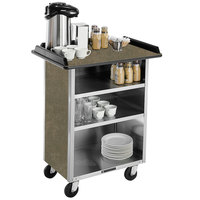 Lakeside 681 Stainless Steel Beverage Service Cart with 3 Shelves and Beige Suede Laminate Finish - 58 3/8 inch x 24 inch x 38 1/4 inch