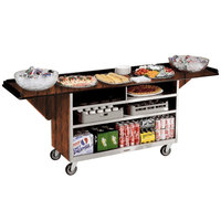 Lakeside 676 Stainless Steel Drop-Leaf Beverage Service Cart with 3 Shelves and Victorian Cherry Laminate Finish - 61 3/4 inch x 24 inch x 38 1/4 inch