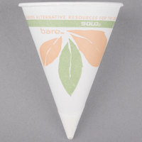 Bare by Solo 4BR-J8614 Eco-Forward 4 oz. Printed Rolled Rim Paper Cone Cup with Leaf Design and Poly Bag Packaging - 5000/Case