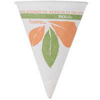 Dart Solo 4BR-J8614 Bare Eco-Forward 4 oz. Printed Rolled Rim Paper Cone Cup with Leaf Design and Poly Bag Packaging - 5000/Case