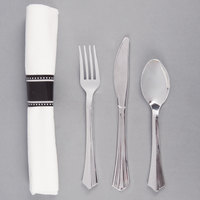 Silver Visions 17 inch x 17 inch Pre-Rolled Linen-Feel White Napkin and Silver Heavy Weight Plastic Cutlery Set - 100/Case