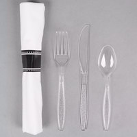 Visions 17 inch x 17 inch White Pre-Rolled Linen-Feel Napkin and Clear Heavy Weight Plastic Cutlery Set - 100/Case