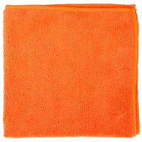 16 inch x 16 inch Orange Microfiber Cleaning Cloth - 12/Pack